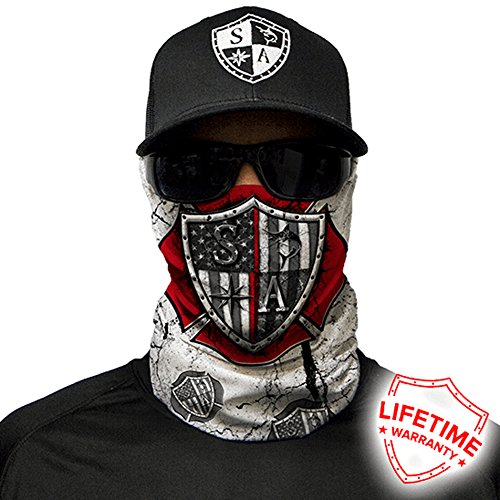 SA Company Face Shield Micro Fiber Protective Like armour for your face from wind, dirt and bugs. Keep warm on cool days. Worn as a Balaclava, Neck Gaiter, Head band, Doo Rag for Hunting, Fishing Running, Boating Cycling Racing and Salt lovers. - Red Strong
