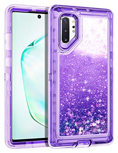 3 Inch Rubber Heart - Wollony for Galaxy Note 10 Plus Case, Glitter Heavy Duty Girly Liquid Bling Quicksand 3 in 1 Hybird Impact Resistant Shockproof Hard Bumper Soft Clear Rubber Cover for Galaxy Note 10+ 5G Purple
