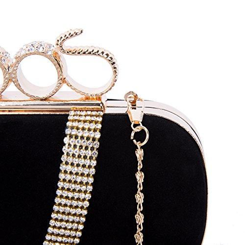 Damen Frauen Clutch Abendtasche Handtasche Velour mit Funkelnder Hochwertig Diamant Elegante Tasche für Hochzeit Party 20*5*14cm Schwarz