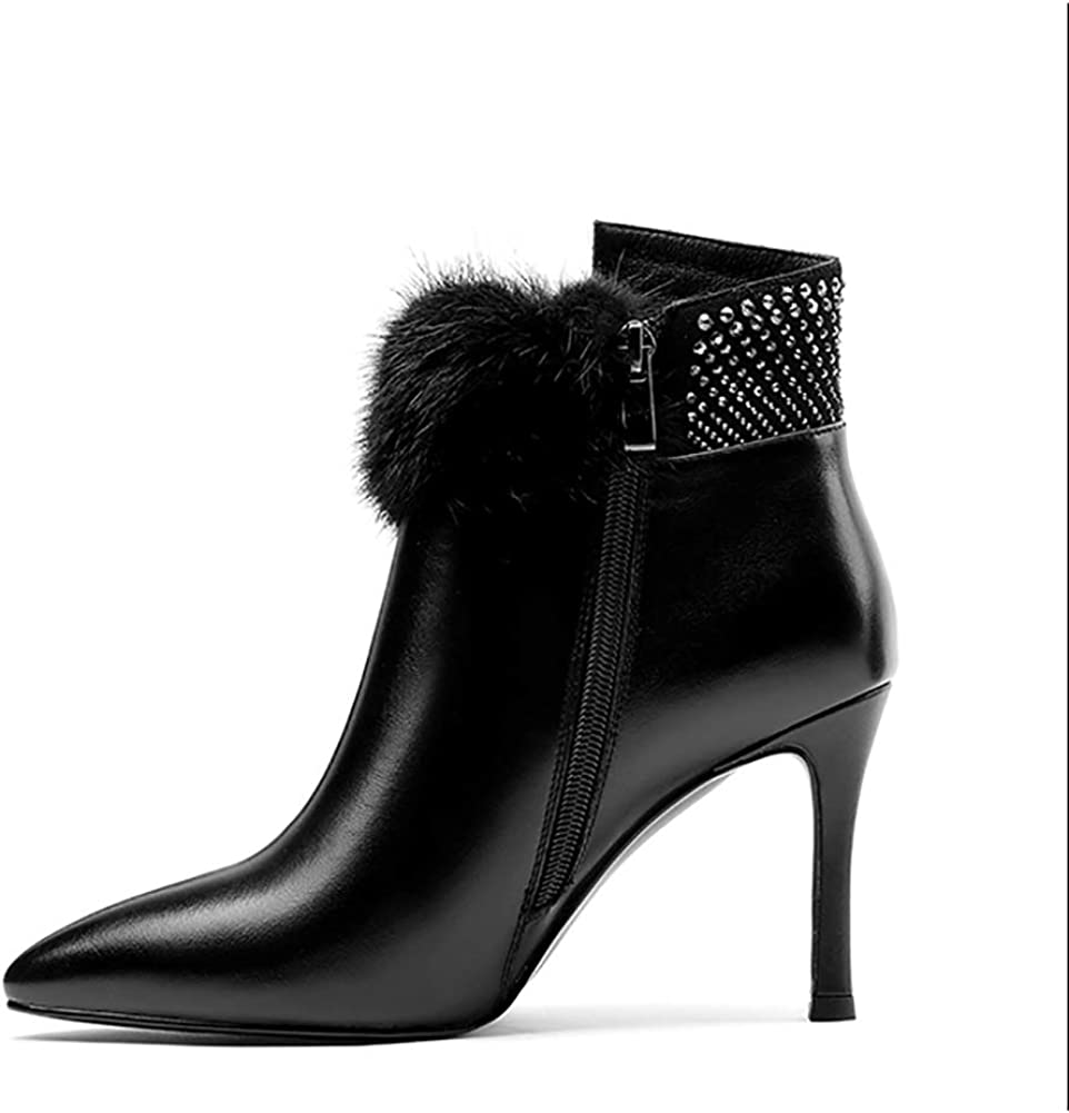 Bottines Femmes Avec Talon Kitten Dames Stiletto Talons Mi Bottes Chaussures En Cuir Verni Zip Haut Talon 8.5Cm Noir