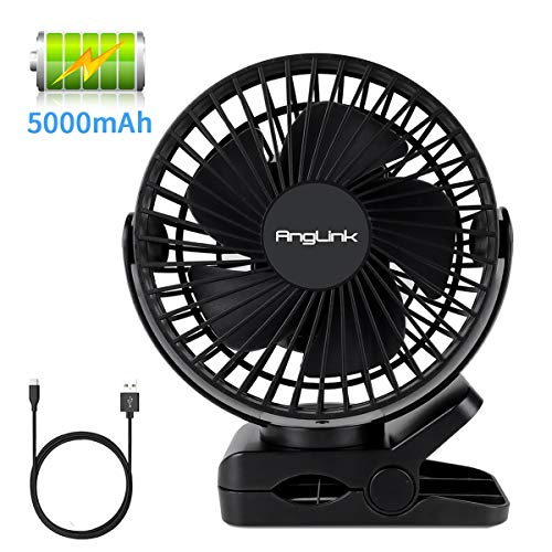 (Clip on Fan, 5000mAh Large Battery Powered Fan USB Rechargeable for Baby Stroller Home Office Camping Outdoors)