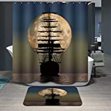 Modern Design Rust Proof Sailing Sailboat Shower Curtains, Width X Height / 72 X 80 Inches / W H 180 By 200 Cm, Polyerster, Best For Husband