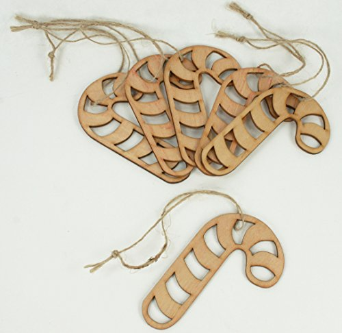 6 Unfinished Wood Laser Cut Ornaments with Strings (CANDY CANE - 3