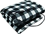 "Automotive : Sojoy 12V Heated Travel Electric Blanket for Car, Truck,Boats or RV with High/Low Temp control Checkered Black and White(60""x39"")"