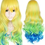 Anogol Hair Cap+Long Wavy Yellow Green Blue Gradient Cosplay Wig
