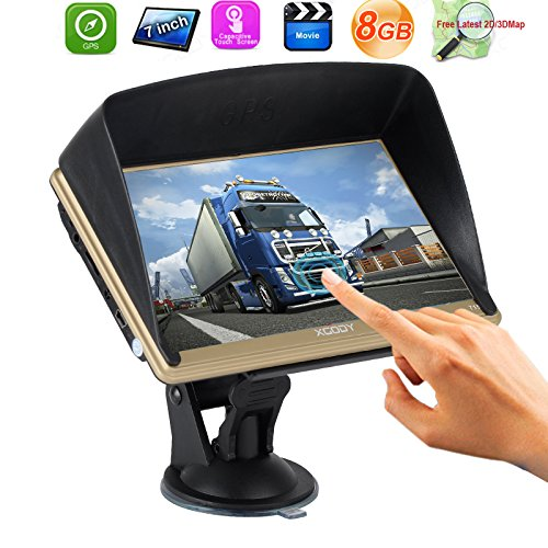 Xgody 715 7 Inch Portable truck Car GPS Navigation Sat Nav Capacitive Touch Screen with Sunshade Built-in 8GB FM MP4 MP3 Lifetime Map Gold (Gps For Truck Drivers)