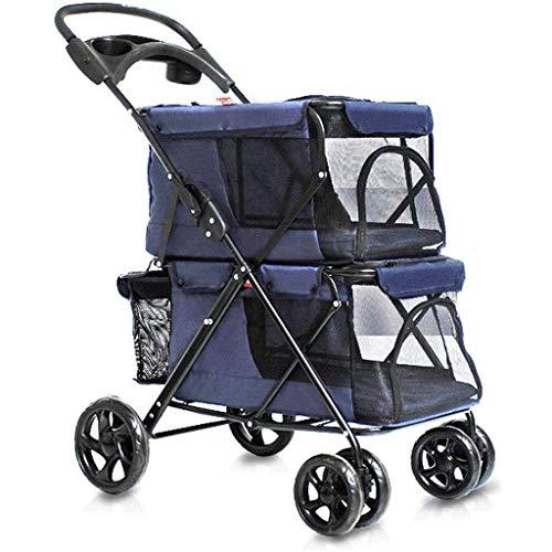 LHHL Dog Stroller Pet Stroller for Large Dogs 4 Wheel Pet Pushchair Travel Stroller Folding Carrier Pet Trolley for 20kg Pets (Color : A)