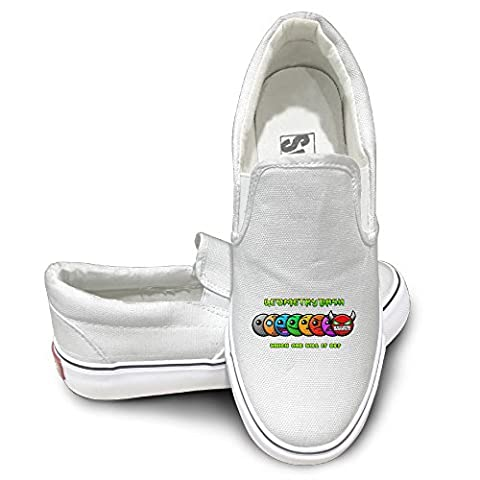 PTCY Geometry Dash Game Athletic Unisex Flat Canvas Shoes Sneaker 43 White (Les Paul Classic Custom Lite)