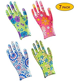 Skytree 7 Pairs Pack, Gardening Gloves, Work Gloves , Comfort Flex Coated,  Super