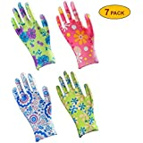 Skytree 7 Pairs Pack, Gardening Gloves, Work Gloves , Comfort Flex Coated, Super Light Weight, Breathable Nylon Shell, Women's SMALL Size, (Assorted color)