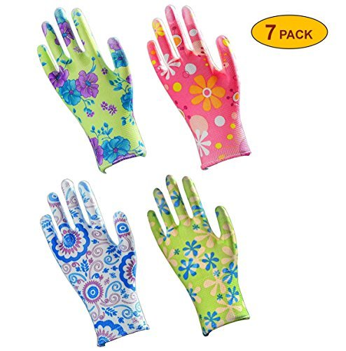 Garden Shell (Skytree 7 Pairs Pack, Gardening Gloves, Work Gloves , Comfort Flex Coated, Super Light Weight, Breathable Nylon Shell, Women's SMALL Size, (Assorted color))