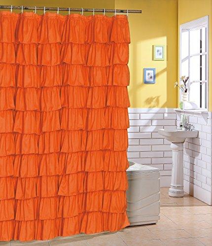 Spring Design Flamenco Ruffle Shower Curtain (Orange)