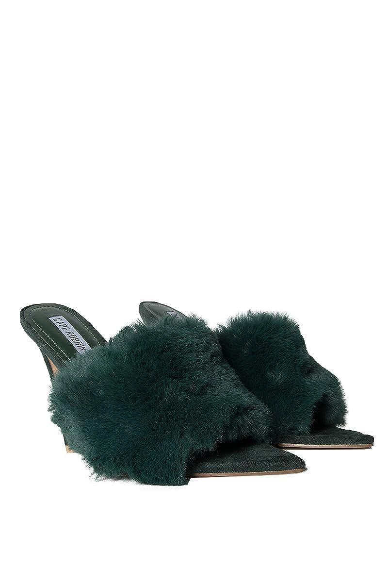 4ff094fa15d Amazon.com: CAPE ROBBIN Faux Fur Upper Pointed Toe Stiletto Mule ...