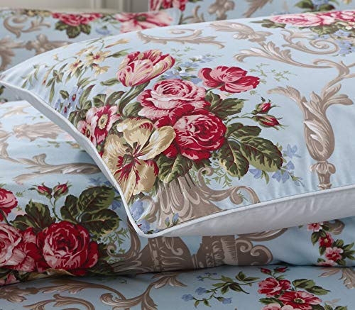 Warm Day Vintage Peony Printed Egyptian Cotton Pillow Cover Set-Red Blue Shabby and Chic Floral Pillowcase French Country Quality Comforter Cover Rustic Garden Shams Set-Euro Size-14