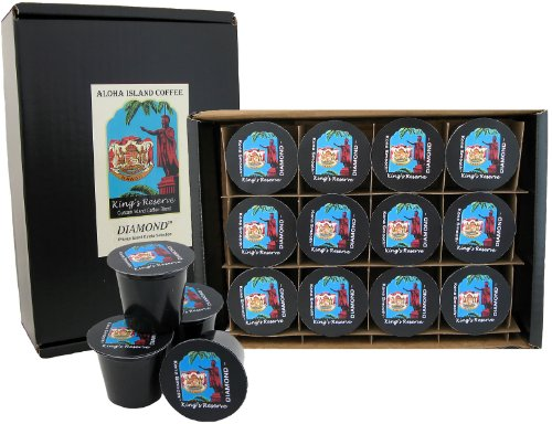 12 Kona-One-Cups of Kings Reserve Kona Hawaiian DIAMOND Coffee Blend, Medium Roast