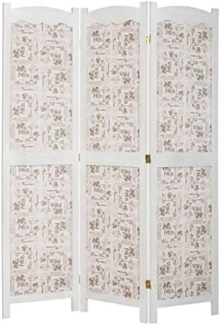 Legacy Decor Solid Wood with Paris Themed Canvas 3 Panel Room Divider, 67 Tall, White Color