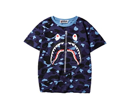 7fc78816 Summer Bape Camo Shark Mouth Print T-Shirt Casual Loose Short Sleeve for  Men/Women | Amazon.com