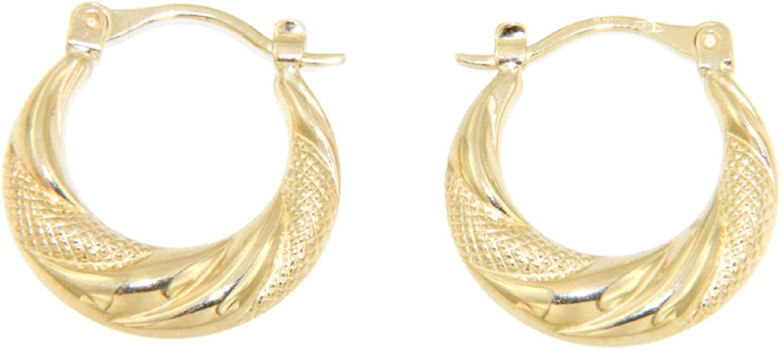 Hoop Earrings 9ct Yellow Gold Star Patterned Creole