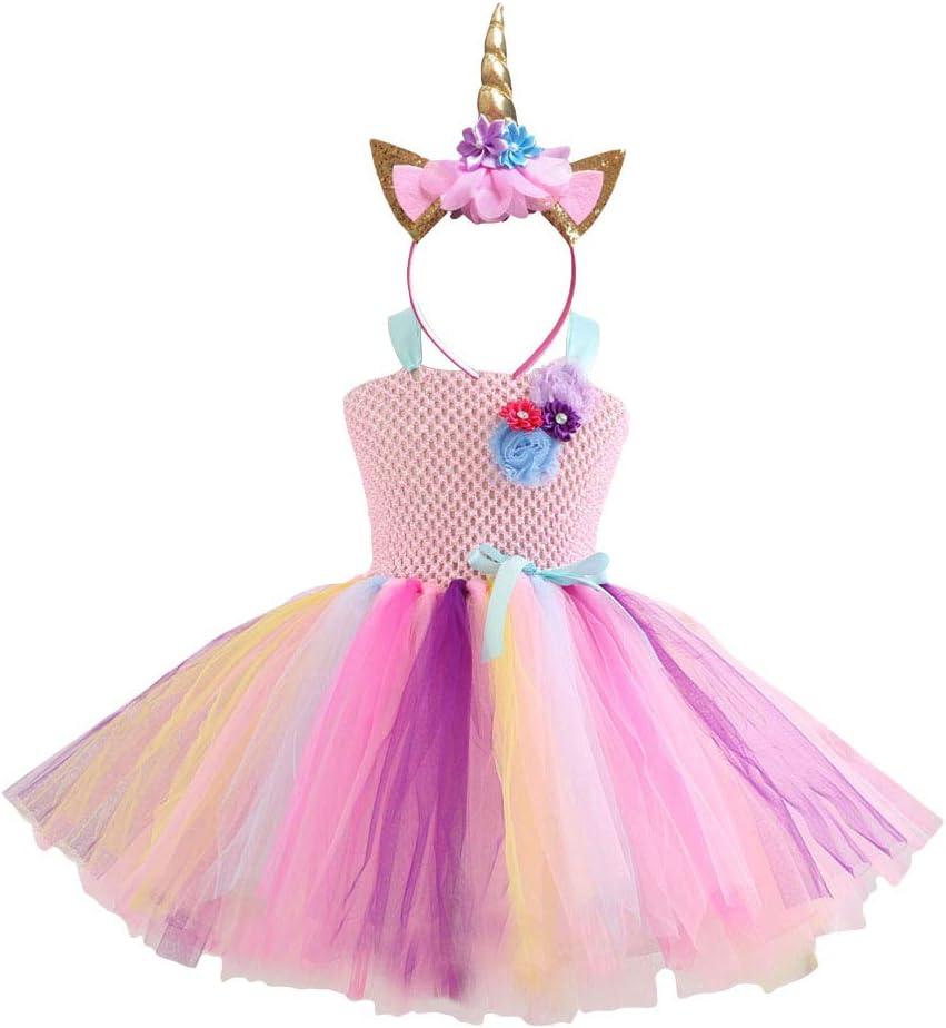LUOEM 4pcs Little Girl Rainbow Tutu Suit Unicorn Headband Party Princess Dance Dress Ruffle Tiered Tutus Photography Skirt Dress Children Birthday Party Cosplay Costumes