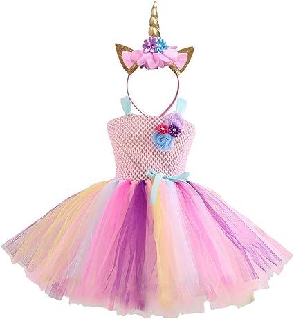 Rainbow Magic Unicorn Girls and Ladies Size Costume Tutu and Horn Headband