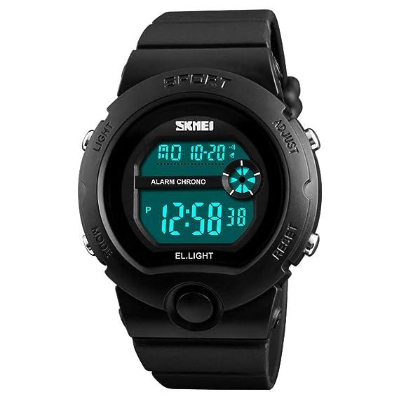 Impermeable Reloj electrónico,Niños Estudiantes Moda Luminoso Reloj Despertador Múltiples Funciones Watch,Masculino Niña-Negro: Amazon.es: Relojes