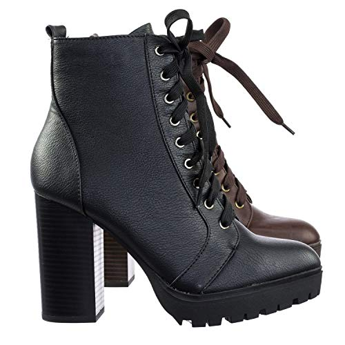 Military Lace Up Combat Ankle Boot On Chunky Block Heel Lug Sole Bootie ()