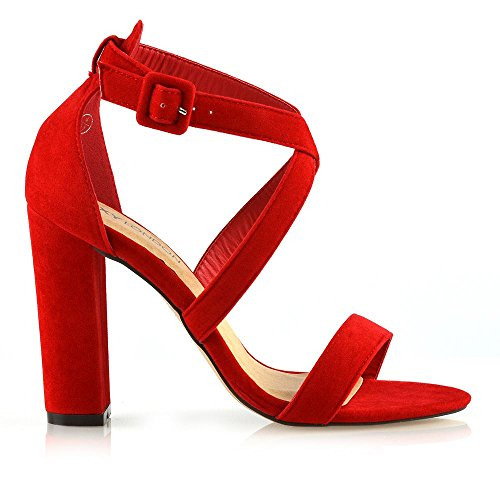 Peep Schuhe Finto Alto Eu Essex Rosso Scamosciato Le Sandali Signore Glam Festa Donna Cinghietti Toe 36 Tacco vSnqx6ITw