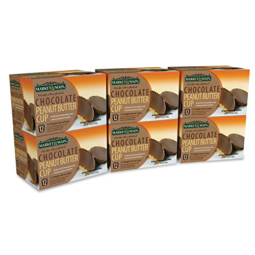 Market & Main One Cup, Chocolate Peanut Butter Cup, Compatible with Keurig K-cup Brewers, 72 Count (6 Boxes of 12 Pods) (Big Peanuts)