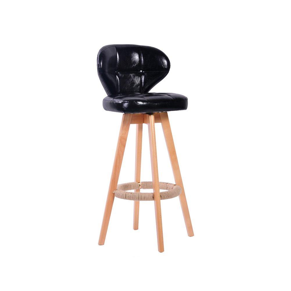 DALL カウンターチェア FL-69高品質のPU 高い足 スツール バースツール 朝食バー スツール 組み立てることができます 回転可能な 高さ97cm (色 : ブラック) B07DLNX2N2ブラック