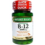 Nature's Bounty Vitamin Quick Dissolve B-12 2500 mcg Tablets, 75 ea (Pack of 12)
