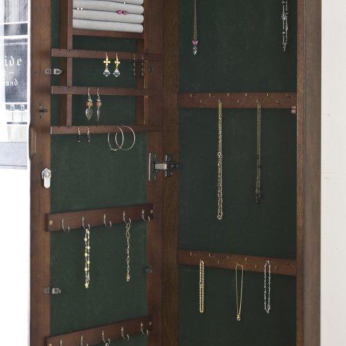 SEI Wall-Mount Jewelry Armoire with Mirror, Walnut