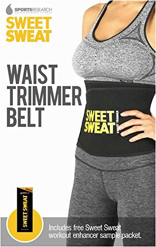 Sweet Sweat Premium Waist Trimmer 1-size-fits-all. Includes Free Sample of Sweet Sweat Workout Enhancer