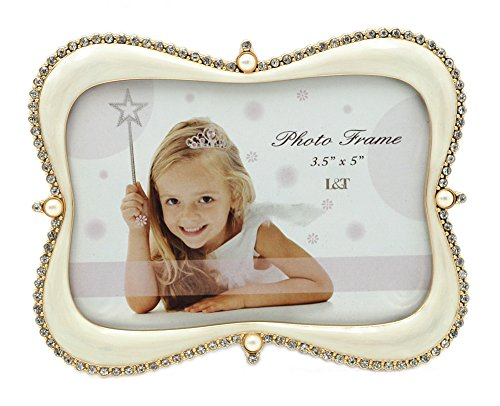 (L&T Lovely Photo/Picture Frame Gold Plated with Ivory Enamel and Crystals 3.5x5 Inch)