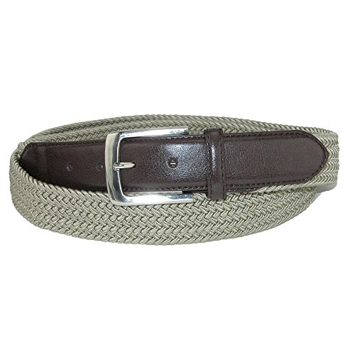 Aquarius Men's Big & Tall Elastic Braided Belt, 46/48, Khaki ()
