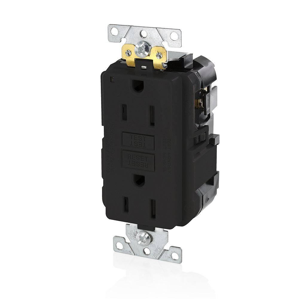 Leviton MGFN2-W Lev-Lok Modular Wiring Device 20A-125V Extra-Heavy Duty Industrial Grade Non-Tamper-Resistant Duplex Self-Test GFCI Receptacle, ...