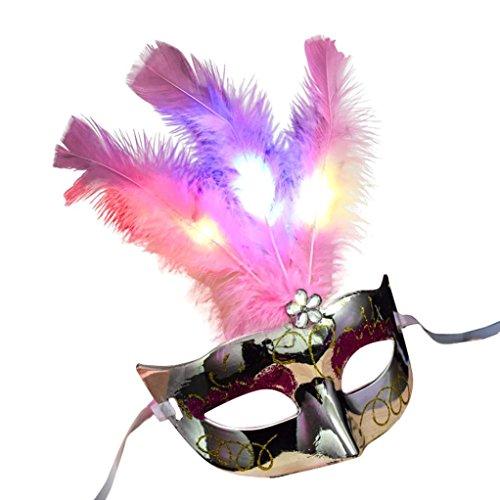 Ikevan Women Venetian LED Mask Masquerade Fancy Dress Party Princess Feather Masks (Silver)