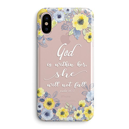(Compatible iPhone X/Xs Case,Girls Flowers Florals Blooms Roses Girls Christian God is Within Her She Will Not Fall Psalm Bible Verses Quotes Inspirational Daisy Soft Clear iPhone X/iPhone Xs)
