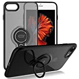 iPhone 8 Case / iPhone 7 Crystal Case with Ring Holder Kickstand Function, 360 Degree Rotating Ring Holder Grip Case Ultra Slim Thin Hard Cover for iPhone 8 / iPhone 7 (4.7inch) (Black)