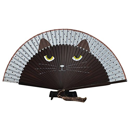FENICAL Summer Bamboo Hand Folding Fan Cute Cat Silk Cartoon Fan for Party Favour (Coffee)