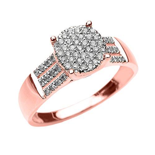 Bague Femme/ Bague De Fiançailles Elégant 14 Ct Or Rose 3 Rangée Micro Pave Diamant