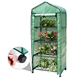 Finether Garden Greenhouse: 4-Tier Mini Grow House with 4Casters(2 Lockable) and Clear Cover for Indoor Outdoor Herb Flower Courtyard Balcony Portable-69 cm W x 49 cm D x 158 cm H