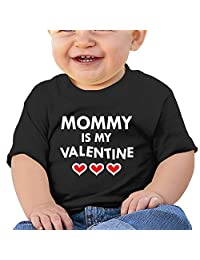 Baby Boy Girl Short Sleeve Mommy Is My Valentine Graphic Tees