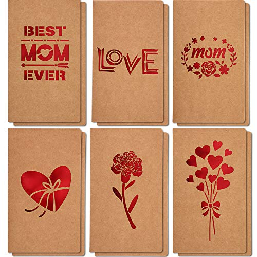 Mothers Day Gift Cards, 12 Pieces MOTHER'S DAY Greeting Cards, 6 Assorted Kraft Die Cut Designs for Mother Gift Best Mom Ever Card, Perfect for Mothers Day Mothers Birthday Party, Envelopes Included (Best Greetings On Mother's Day)