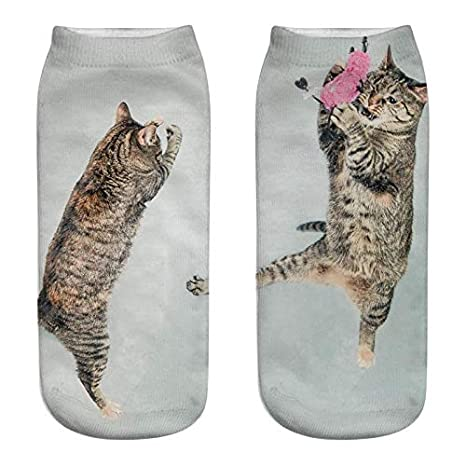 Amazon.com: Lessonmart Cat Socks 3D Printing Female Socks Women Low Cut Ankle Socks Calcetines Mujer Casual Hosiery Printed Sock: Kitchen & Dining