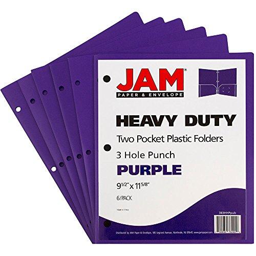 JAM Paper Plastic Heavy Duty 3 Hole Punch 2 Pocket School Presentation Folders - Purple - 6 Folders per Pack