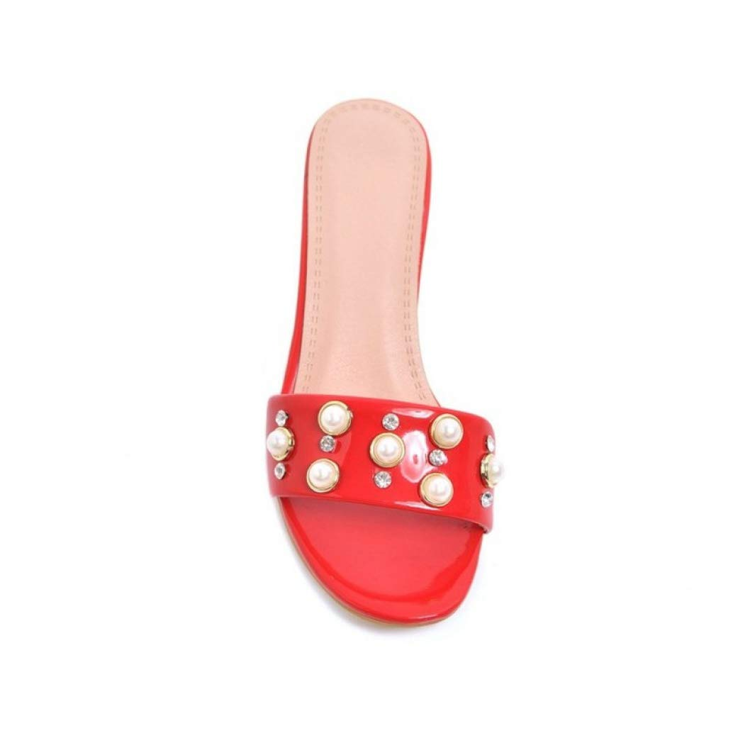 T-JULY Women Pumps Mules Shoes High Heel Slip on Bling Pearl Peep Toe Summer Slides Casual Party Shoes