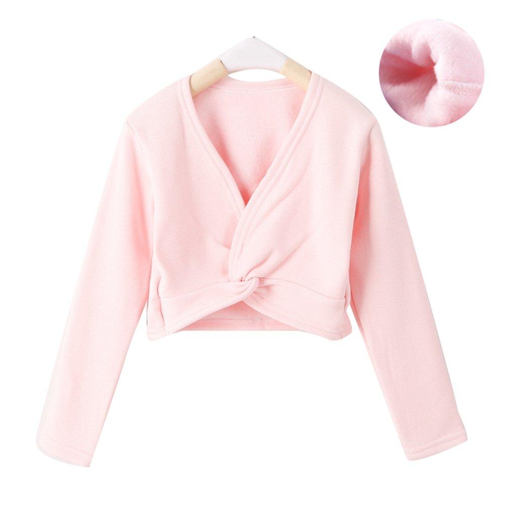 Ketamyy Girls Dance Ballet Crossover Cardigan Wrap Long Sleeve Tie Ballet Dance Wrap top Pink 120