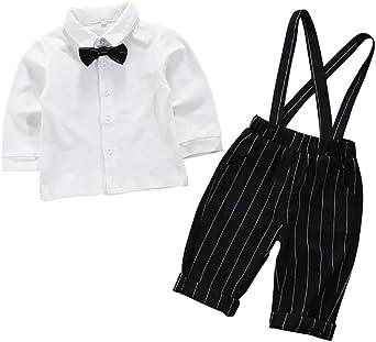 Traje de Caballero Blanco Camisa de Manga Larga Tirantes a Rayas adecuados para niños de 1-4 años de Edad: Amazon.es: Ropa y accesorios