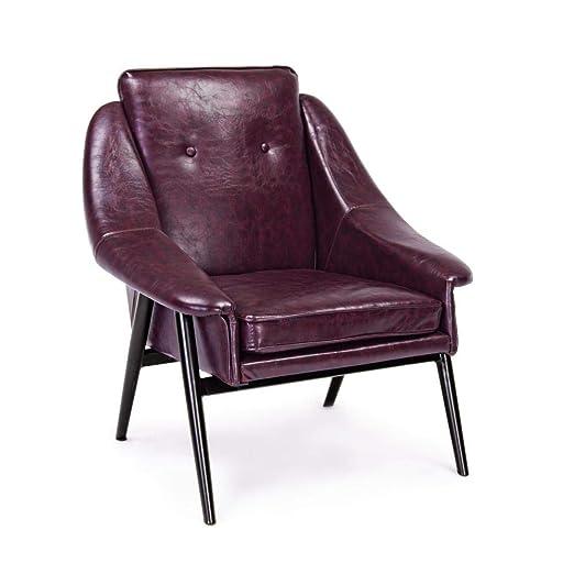 ARREDinITALY - Juego de 2 sillones de Color Burdeos Vintage ...