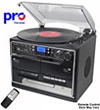 BT-SMC386c Compact - PRO Version (Pro Turntable Deck) 8 in 1 Music System + Remote Control - Bluetooth* – 3 Speed Record Player – CD Player – FM & MW Radio – Playback & Encode RECORDING to USB Stick / SD Memory Card - TWIN Cassette Player & RECORDER - Retro Nostalgic Music Centre System (*Plays music to the music centre large speakers from a Mobile Phone, iPhone, iPod, MP3 player, Computer etc) - by Steepletone - (Black (Silver Detailing))